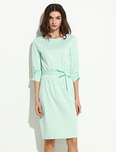 Γυναικείο Δουλειά Φόρεμα,Μονόχρωμο ½ Μανίκι Στρογγυλή Ψηλή Λαιμόκοψη Ως το Γόνατο Πολυεστέρας Spandex Καλοκαίρι ΜικροελαστικόΜεσαίου