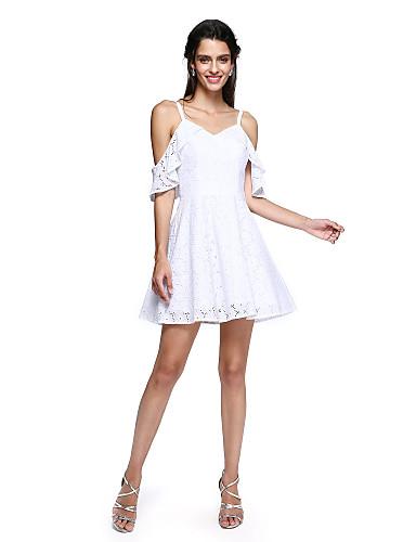 גזרת A רצועות ספגטי קצר \ מיני כותנה מסיבת קוקטייל / סיום לימודים / נשף רקודים שמלה עם קפלים על ידי TS Couture®