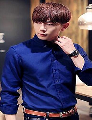Bomull Medium Langermet,Skjortekrage Skjorte Ensfarget Vår Høst Enkel Fritid/hverdag Arbeid Herre