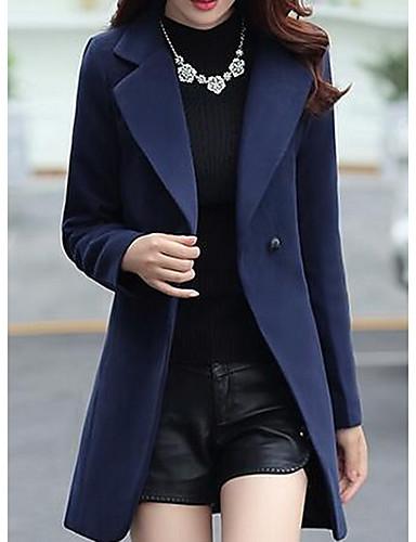 女性 カジュアル/普段着 ソリッド コート,シンプル ブルー / レッド / ブラック ポリエステル 長袖