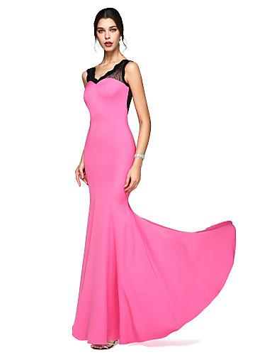 Sereia Decote V Longo Renda / Microfibra Jersey Transparente Baile de Formatura / Evento Formal Vestido com Renda de TS Couture®