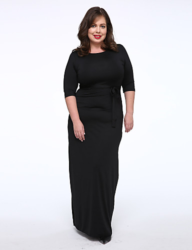 Γυναικείο Καθημερινά Μεγάλα Μεγέθη Απλός Κομψό στυλ street T Shirt Φόρεμα,Μονόχρωμο Ένας Ώμος Μακρύ Πολυεστέρας Spandex Καλοκαίρι