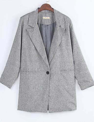 Women's Vintage Cotton Blazer-Solid Colored Square Neck / Fall