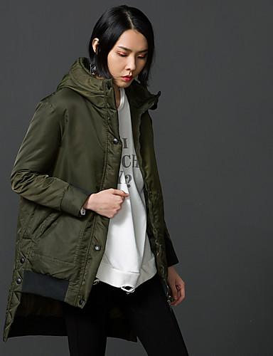 女性 お出かけ / カジュアル/普段着 冬 ソリッド コート,シンプル / ストリートファッション フード付き グリーン ナイロン 長袖 厚手