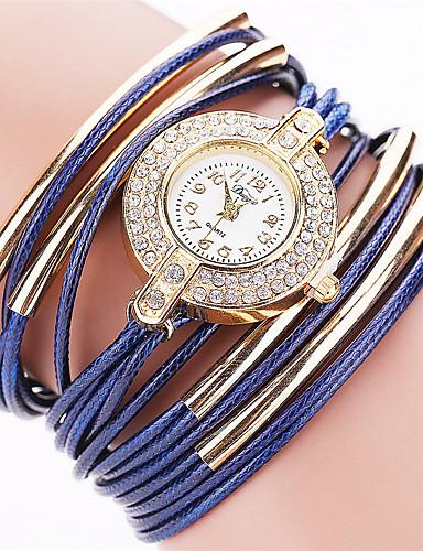 Mulheres Quartzo Bracele Relógio Relógio Casual PU Banda Vintage Casual Fashion Preta Branco Azul Vermelho Laranja Marrom Verde Cinza