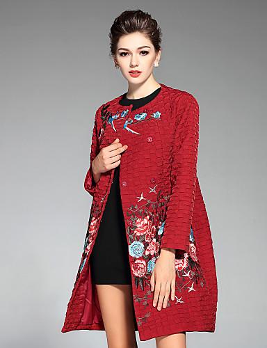 Mujer Tejido Oriental Casual/Diario / Tallas Grandes Bordado Abrigo,Escote Redondo Manga Larga Invierno Poliéster Azul / Rojo / Verde