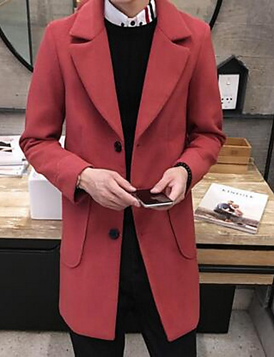 Bomull Rød Medium Langermet,Skjortekrage Frakk Ensfarget Enkel Fritid/hverdag-Vår Herre