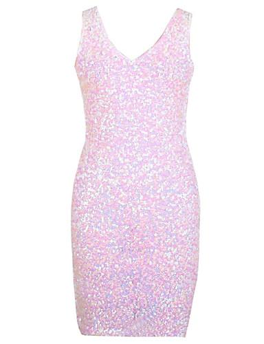Damen Bodycon Kleid-Lässig/Alltäglich Retro Solide V-Ausschnitt Mini Ärmellos Elasthan Herbst Hohe Hüfthöhe Mikro-elastisch Mittel