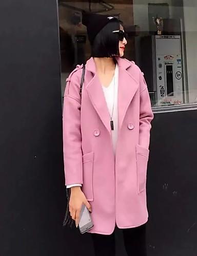 Damen Solide Einfach Street Schick Ausgehen Lässig/Alltäglich Mantel,Herbst Winter Steigendes Revers Langarm Blau Rosa Grün MittelAcryl