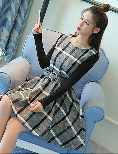 Damen Lose Kleid-Lässig/Alltäglich Einfach Gestreift Rundhalsausschnitt Midi Langarm Baumwolle Herbst Winter Hohe Hüfthöhe Mikro-elastisch