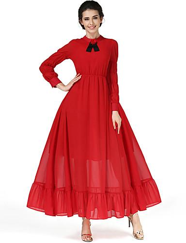 9849a9521a Az új piros ruha irodalmi retro magas derék vékony volt, hosszú ujjú  egy-vonalú
