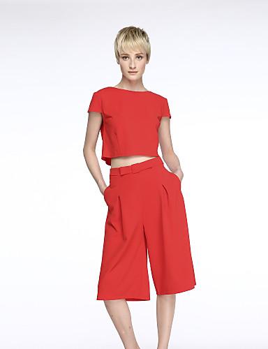 Damen Chiffon Zweiteiler Kleid-Ausgehen Retro Einfach Solide Rundhalsausschnitt Midi Kurzarm Polyester Sommer Mittlere Hüfthöhe
