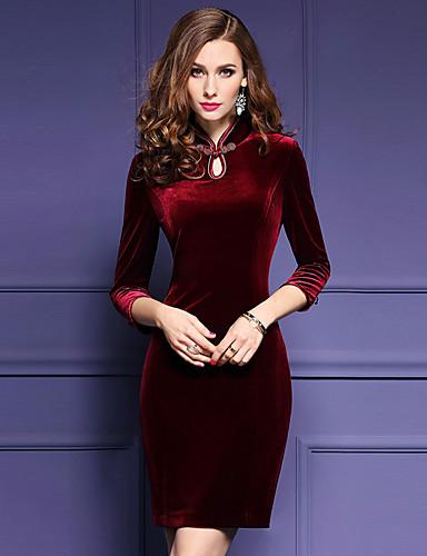 Damen Bodycon Kleid-Ausgehen Übergröße Sexy Solide Ständer Übers Knie ¾-Arm Rot Polyester Frühling Herbst Mittlere Hüfthöhe