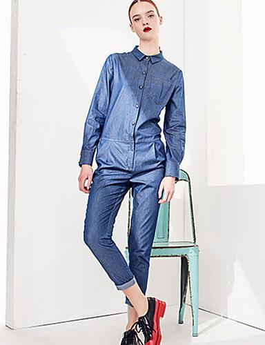 Damen Schlank Overall-Lässig/Alltäglich Street Schick Solide Jeansstoff Hemdkragen Langarm Hohe Hüfthöhe Acryl Polyester Unelastisch