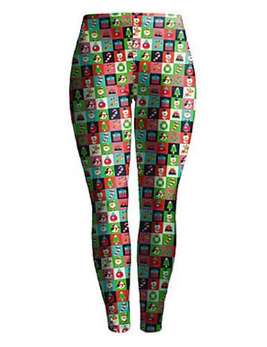 Damen Skinny Jogginghose Hose-Sport Einfach Regenbogen Mittlere Hüfthöhe Elastizität Elasthan Micro-elastisch Winter