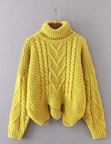 Damen Standard Pullover-Ausgehen Lässig/Alltäglich Einfach Street Schick Solide Rollkragen Langarm Acryl Polyester Elasthan Herbst Winter