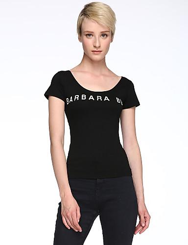 Γυναικείο T-shirt Καθημερινά Απλό Μονόχρωμο,Κοντομάνικο Στρογγυλή Λαιμόκοψη Όλες τις Εποχές Μεσαίου Πάχους Βαμβάκι