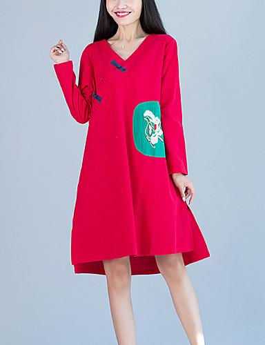 Damen Retro / Street Schick Baumwolle / Leinen Lose Kleid - Gespleisst, Patchwork / Stickerei Asymmetrisch V-Ausschnitt / Frühling