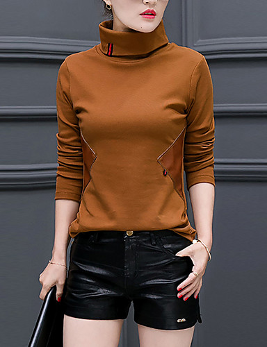 Naisten Poolokaulus Raion Polyesteri Pluskoko - T-paita, Yhtenäinen