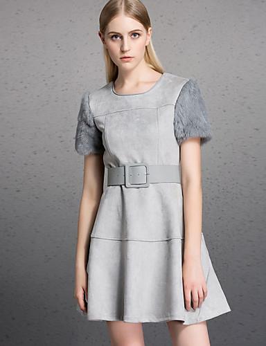 Damen Hülle Kleid-Lässig/Alltäglich Einfach Solide Rundhalsausschnitt Übers Knie Kurzarm Kaninchen-Pelz Polyester Herbst WinterHohe