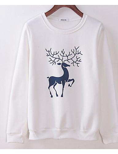 Damen Pullover Lässig/Alltäglich Druck Rundhalsausschnitt Mikro-elastisch Baumwolle Langarm Winter