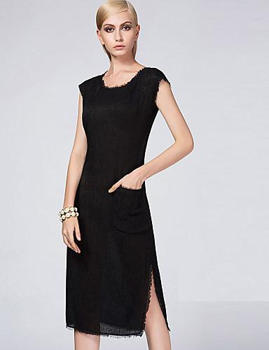 Damen Hülle Kleid-Lässig/Alltäglich Einfach Solide Rundhalsausschnitt Übers Knie Ärmellos Polyester Herbst Winter Hohe Hüfthöhe