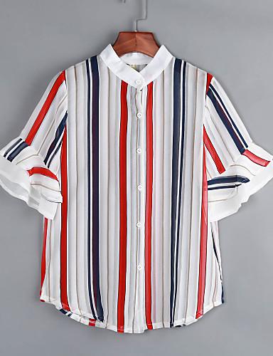Nais- ½ hiha Keskipaksu Stand-kaula-aukko Polyesteri Kesä Yksinkertainen Rento/arki Pusero,Raidoitettu Punainen