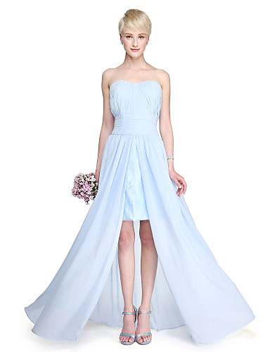 Sheath / Column Strapless Floor Length Chiffon Bridesmaid Dress with Draping Ruched Split Front by LAN TING BRIDE®