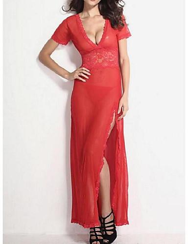 Damen Besonders sexy Nachtwäsche Solide - Polyester Spitze Dünn Weiß Schwarz Rot