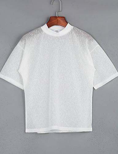 1/2 ærmelængde Rund hals Blank / Gennemsigtig Dame Hvid / Sort Ensfarvet Sommer Sødt / Street I-byen-tøj / Casual/hverdag T-shirt,Bomuld