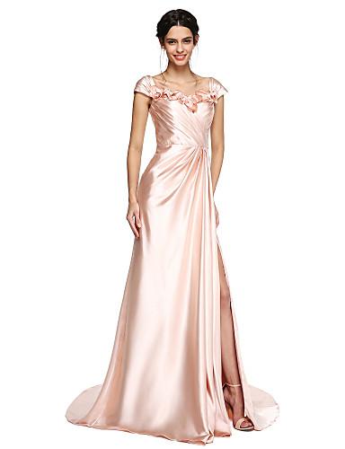 A-Linie Hof Schleppe Stretch - Satin Ball Formeller Abend Kleid mit Blume(n) Vorne geschlitzt Überkreuzte Rüschen durch TS Couture®