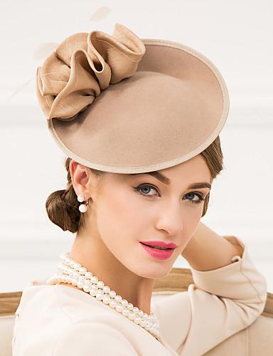 abordables Sombreros y Fascinators-Mujer Pluma Poliéster Lana Celada-Boda Ocasión especial Casual Tocados Sombreros 1 Pieza