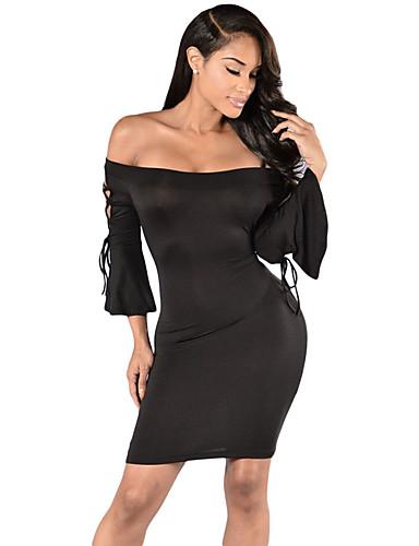 Damen Bodycon Kleid - Rückenfrei, Solide Mini Bateau Hohe Hüfthöhe