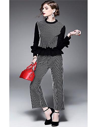 Damen Gestreift Einfach Lässig/Alltäglich Strand Urlaub T-Shirt-Ärmel Hose Anzüge,Rundhalsausschnitt Micro-elastisch