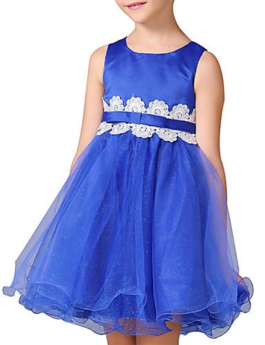 Mädchen Kleid Ausgehen Lässig/Alltäglich einfarbig Einfarbig Patchwork Polyester Ganzjährig Ärmellos
