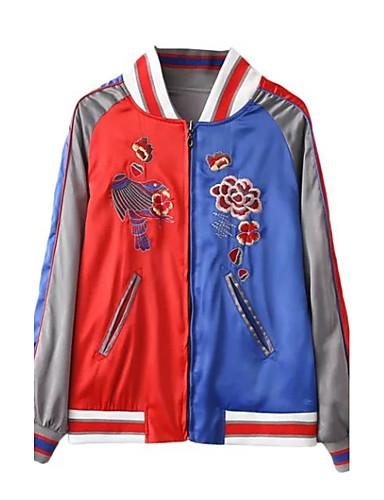 Damen Einfarbig Stickerei Einfach Street Schick Ausgehen Lässig/Alltäglich Jacke,Herbst Winter Rundhalsausschnitt Langarm Grau Mittel