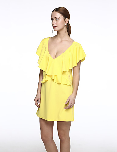 1cae6a2aa4a2 Women s Casual Loose Dress - Solid Colored Peplum   Backless   Ruffle    Summer