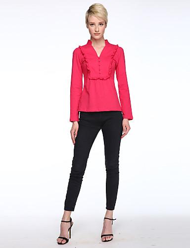 Casual/hétköznapi Nagy méretek / Egyszerű V-alakú-Női Póló,Egyszínű Tavaszi Hosszú ujj Rózsaszín / Fehér / Fekete Poliészter Vékony