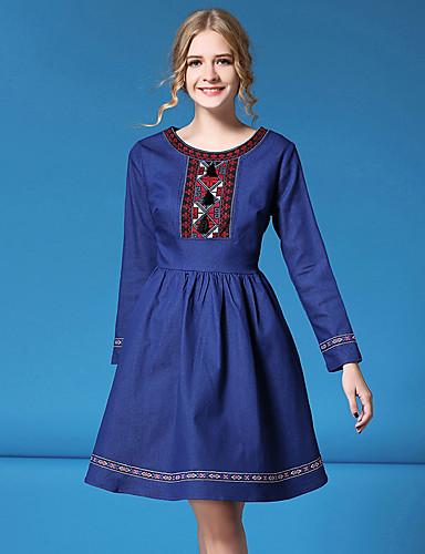 Damen A-Linie Kleid-Lässig/Alltäglich Niedlich Solide Rundhalsausschnitt Übers Knie Langarm Blau Baumwolle Polyester Frühling Herbst