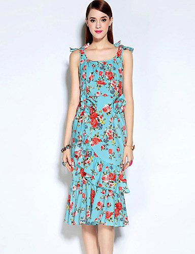 Mujer Vaina Vestido Casual/Diario Simple,Floral Escote Redondo Midi Sin Mangas Azul Algodón / Poliéster Otoño Tiro Medio Rígido Medio