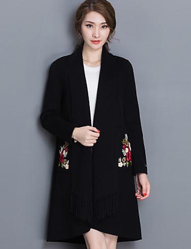 女性 カジュアル/普段着 フラワー コート,モダンシティ ブラック グレイ パープル ウール 長袖 ミディアム