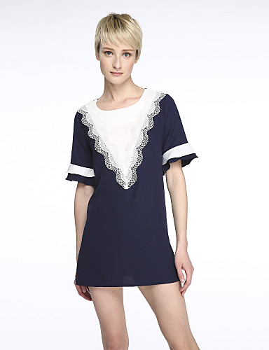 Courte Mousseline de Soie Robe Femme Sortie Grandes Tailles simple Chic de Rue,Mosaïque Col en V Au dessus du genou Manches Courtes