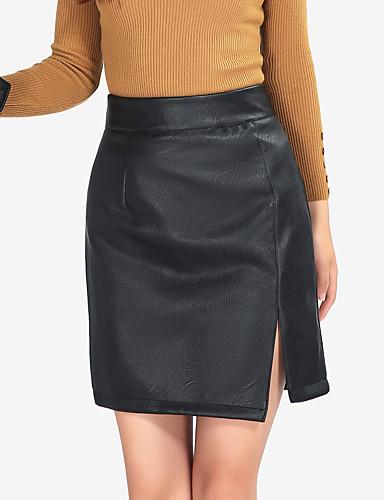 Damen Extraklein Einfach Sexy Street Schick Lässig/Alltäglich Arbeit Klub Über dem Knie Röcke A-Linie Bodycon,PU Solide Ganzjährig