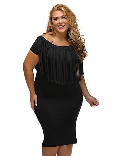 女性用 クラブ セクシー プラスサイズ ボディコン 膝丈 ドレス,ソリッド タッセル 半袖 ボートネック