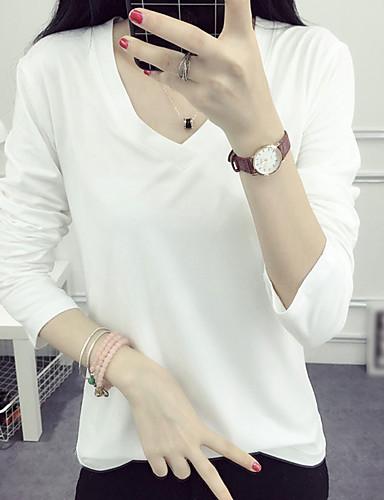 V-hals Dame - Ensfarvet T-shirt Bomuld