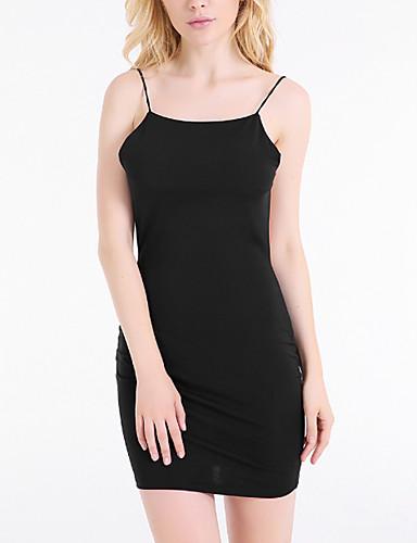 Damen Bodycon Kleid-Klub Sexy Solide Rundhalsausschnitt Midi Ärmellos Polyester Sommer Tiefe Hüfthöhe Mikro-elastisch Dünn