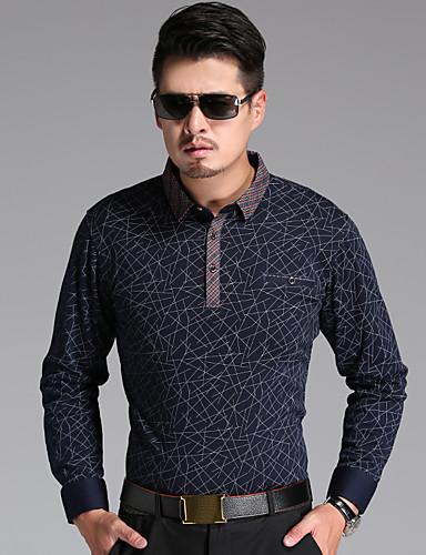 男性用 ワーク Tシャツ シンプル シャツカラー 幾何学模様 コットン / 長袖 / ロング