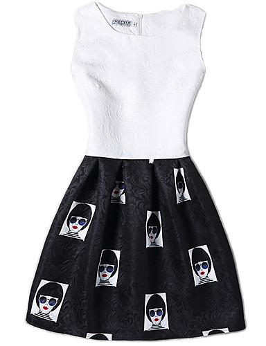 Damen Hülle Kleid-Lässig/Alltäglich Retro Niedlich Sexy Druck Rundhalsausschnitt Übers Knie Ärmellos Polyester Frühling Sommer Mittlere