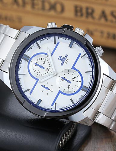 Hombre Reloj Deportivo Reloj de Pulsera Cuarzo Reloj Casual Acero Inoxidable Banda Analógico Casual Moda Reloj de Vestir Blanco - Blanco Negro