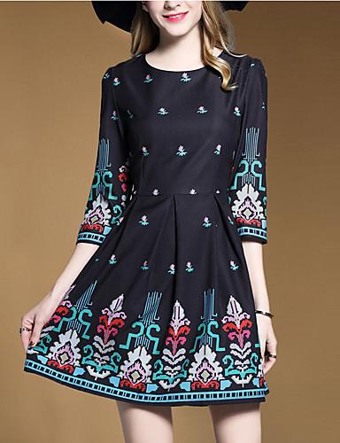 Damen Hülle Kleid-Ausgehen Anspruchsvoll Druck Rundhalsausschnitt Übers Knie ¾-Arm Blau Polyester Frühling Winter Mittlere Hüfthöhe